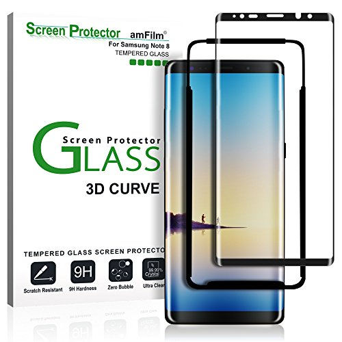Verre Trempé Galaxy Note 8, amFilm Couverture Complète Protecteur D'écran pour Samsung Galaxy Note 8 (1 Pièce, Noir)
