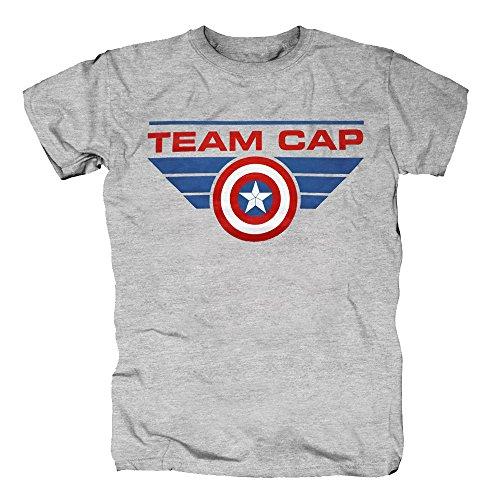 TSP Captain America - Team Cap T-Shirt Herren M Grau meliert (Ant Man Kostüm In Captain America)
