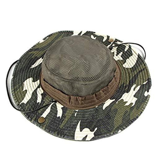 Fcostume Sonnenhut, Feste Krempe Flat Top Cadet Caps verstellbare Korps Vintage Flat Top Camouflage Hüte -