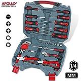 """Apollo Precision Tools Kit d'outils 54 pièces Tournevis, pinces double1/4"""" inclus (système métrique)"""