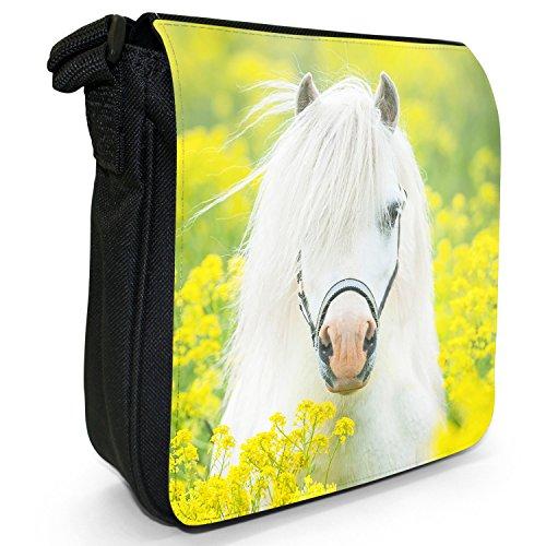 Pony & Shetland Pochette Piccola Pochette Nera Tela Bianca Pony In Fiori Gialli