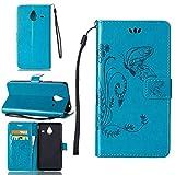 pinlu Schutzhülle Für Microsoft Lumia 640 XL Dual-SIM Handyhülle Hohe Qualität PU Ledertasche Brieftasche Mit Stand Function Innenschlitzen Design Schmetterling Gras Muster Blau