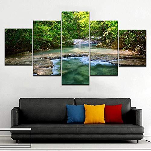 Ysain Toile Photos Salon Mur Art 5 Pièces Vert Forêt Cascade Affiche Hd Paysage Peintures Décor À La Maison Modulaire-4X6/8/408 Inch-Avec Cadre