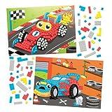 """Mosaik-Bastelsets """"Rennwagen"""" für Kinder zum Basteln und Aufstellen – Kreatives Bastelset für Kinder (4 Stück)"""