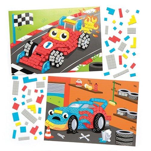 Kit di Mosaici con Macchinine da Corsa per Bambini, da Creare ed Esporre -  Creazioni Fai da Te Originali per Bimbi (Confezione da 4)
