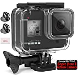 Adofys Waterproof Case Cover Underwater Diving Protective Shell Housing with 12 Antifog Inserts Tripod Adapter Quick Release Mount and Thumbscrew Compatible with Gopro Hero 8 Black Action Camera