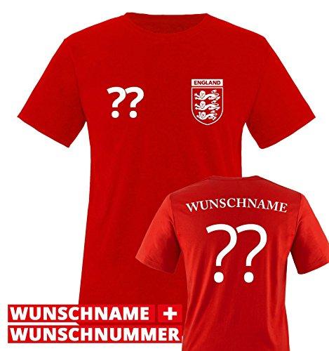 TRIKOT - WUNSCHDRUCK - Kinder T-Shirt - Rot / Weiss Gr. 152-164 (Jersey Rotes Kinder Fußball)