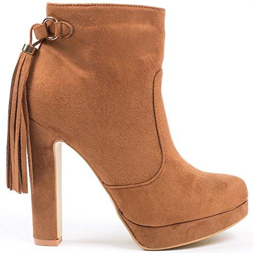 Ideal Shoes–Scarponcini effetto camoscio con talloni spessi e piattaforma impreziositi da frange Zania Marrone