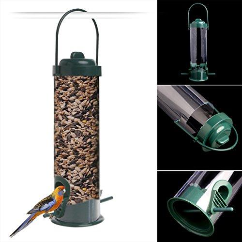 UEETEK Fenêtre en plastique Alimentateur d'oiseaux Suspension Parrot Feeder Transparent Seed Tube