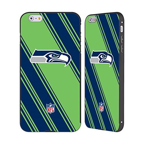 Ufficiale NFL Pattern 2017/18 Seattle Seahawks Nero Cover Contorno con Bumper in Alluminio per Apple iPhone 5 / 5s / SE Righe