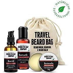 kit cuidado de barba: Travel Bag ✔ consiste en champú, aceite y bálsamo para la barba ✔ cosméticos naturales de la BROOKLYN SOAP COMPANY ®✔ idea de regalo para hombres y como bolsa de aseo