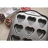 Lukzer Nonstick Metallic 12 Cavity/12 Cups/12 Slots Heart-Shaped Mini Cheesecake Pan/Cupcake Pan With Removable Bottom.