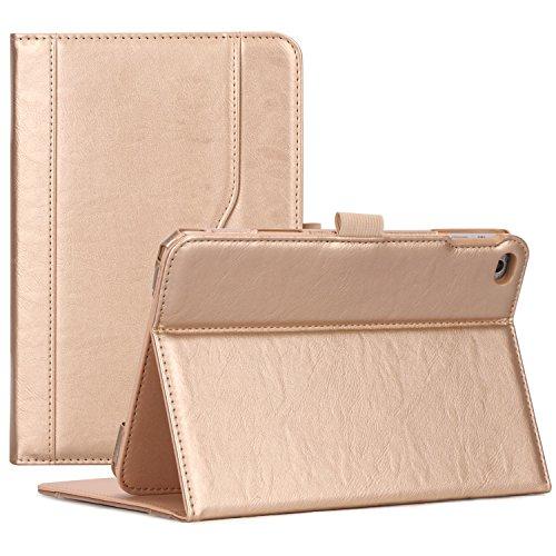 ProCase iPad Mini 4 Hülle - Leder Tribüne Folio Hülle Deckel für 2015 Apple iPad Mini 4 (4. Generation iPad Mini, Mini4), mit Mehreren Blickwinkel, Auto Sleep/Wake, Dokumentenkarte Tasche -Gold