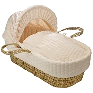 Clair de Lune Marshmallow Palm Moses Basket inc. Bedding, Mattress & Adjustable Hood (Cream)   1