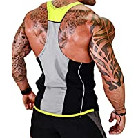 MIZOK Mens Y-Back Tank Tops Gym Bodybuilding Workout Sleeveless Shirts (L, Yellow)