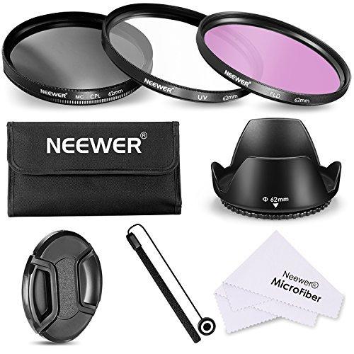 Galleria fotografica Neewer 62mm lente filtro kit accessori per fotocamera con obiettivo 62mm, include: filtro UV CPL FLD + astuccio + paraluce + copriobiettivo + copriobiettivo + panno di pulizia in microfibra