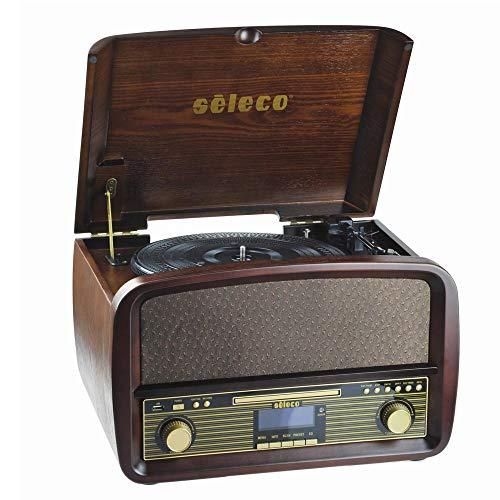 Bakaji Giradischi Con Uscita USB 33/45/78 RPM + Lettore CD Radio FM Telecomando SELECO Musica Vintage Riproduzione Audio Usb Dischi in Vinile