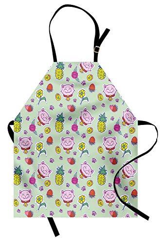 Soefipok Katzen-Schürze, fröhliches Muster mit lächelnden Katzen Ananas Erdbeeren Maneki Neko Happiness Love, Unisex-Küchenschürze mit verstellbarem Hals zum Kochen Backen Gartenarbeit, ()