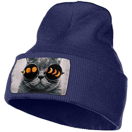 Preisvergleich Produktbild Unisex Cat Glasses Total Solar Eclipse Winter Knit Beanie Hat Skull Cap