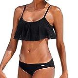 Bikini Damen Set Push Up Streifen Mesh Bandeau Bademode Badebekleidung Strand Badeanzug (XL, Schwarz)