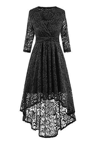 YACUN Femmes 3 / 4 Manche Élevée Faible Lace Swing Cocktail Robe Black