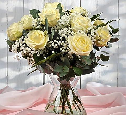 Beautiful 12 Dozen White Luxury Roses UK - FREE Next