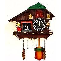 ZHGI Orologio da parete di stile europeo, una finestra quando appeso altalena tavolo, salotto moderno creativo semplice orologio a cucù,B