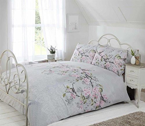 Vogel Zweig Blumen Spitze Druck grau rosa King Size ( Plain Weiß passendes Leintuch - 152 x 200cm + 25) PLAIN weiß Hausfrau Kopfkissenbezüge 6 Stück Bettwäsche Set