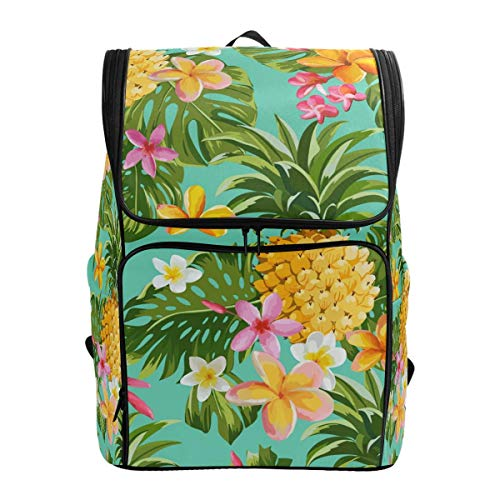 Laptop-Rucksack, tropische Palme, gelbe Ananas, rosa Blumen, große Kapazität, Reisetasche