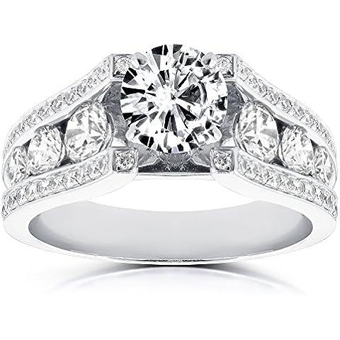 Estilo Vintage Anillo de compromiso de diamante redondo 31/10de quilate en 14K oro blanco _