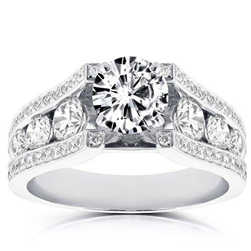 Estilo Vintage Anillo de compromiso de diamante redondo 31/10de quilate en 14K oro blanco _ 7,5