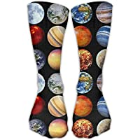 Sport Athletic Lightweight Tube Long Knee High Socks Solar System Planets Space Science Astronomy 3D Printing Compression Breathable Outdoor Stockings Gifts