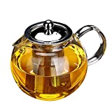 Glass Teapot with Removable Infuser - OBOR Borosilicate Glass Tea Maker with Stainless