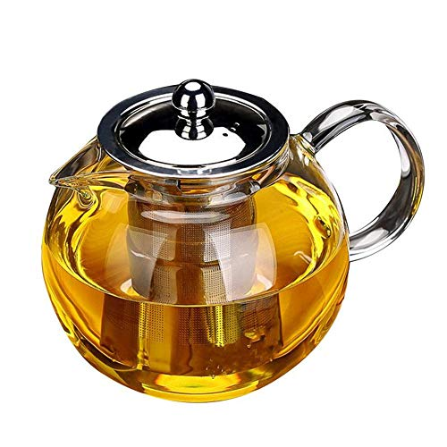 Glass Teapot with Removable Infuser - OBOR Borosilicate Glass Tea Maker with Stainless Steel Infuser for Blooming and Loose Leaf, Tea Kettle Microwave and Stovetop Safe - 950ml/33oz