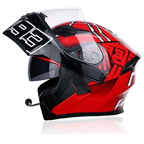 Caschi Bluetooth per Motociclisti Casco modulare Integrale per Adulti Certificazione D.O.T Flip up Dual Visors Radio FM Sistema di Comunicazione Integrato Impermeabile,Red,L