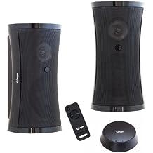 Altavoces inalámbricos exclusivos con mando a distancia y sonido estéreo envolvente (2 x 5 W RMS / 100 W PMPO / Plug&Play / IPX3 / 100 m de alcance) para interior y exterior / sin cables