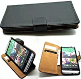 Luxury premium leather wallet mobile stand case cover for HTC ONE X - BLACK
