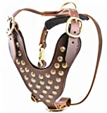 Dean & Tyler Stud Brother Leather Dog Harness - Large (Girth: 56cm - 91cm Neck: 43cm - 69cm) - Brown