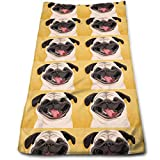 ewtretr Toallas De Mano, Pug Microfiber Lightweight Soft Fast Drying for Gym Beach Travel Fitness