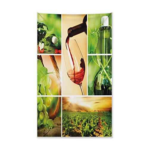 ABAKUHAUS Wein Wandteppich und Tagesdecke, Weinprobe Weinrebe aus Weiches Mikrofaser Stoff Kein Verblassen Klare Farben Waschbar, 140 x 230 cm, Karamell Grün Rubin