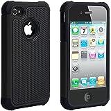 ULAK - Cover per iPhone 4S - iPhone 4 Cover - iPhone 4 4S Custodia ibrida in silicone 2 in 1 shell super protettiva anti collisioni per iPhone 4/4S (Nero)