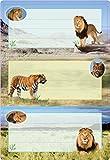 Herma 5566 Buchetiketten Schule, Motiv Tiger Löwe, Inhalt: 6 Heftetiketten für Schulhefte, Format 7,6 x 3,5 cm, beglimmert