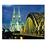 ZLWSSA Oil Paint Painting By Numbers Diy Frameless Cologne Cathedral And Hohenzollern Bridge Night Scene Image Mosaicacrylic Paint On Canvas Modern For Home Arts 40x50cm