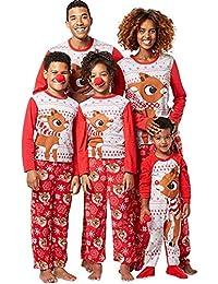 Ensemble Pyjama Noel Famille Père Noël Mère Garçon Fille du Nouveau-né Bébé Pyjamas à Deux Pièces Set Pull-over à Manches Longues Top et Pantalon Sleepwear Renne Vêtement de Nuit Romper Sleepsuit Mode