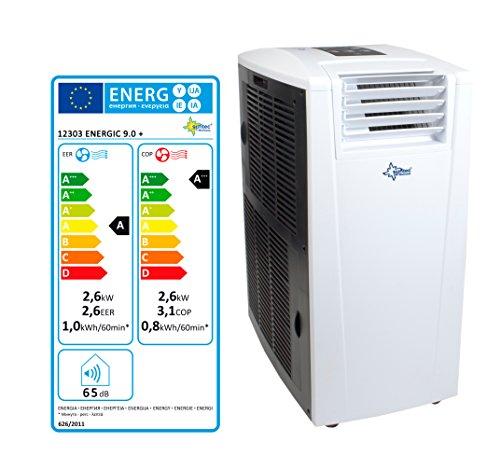 SUNTEC mobiles lokales Klimagerät ENERGIC 9.0+ [Für Räume bis 90 m³ (~38 m²), Kühlen + Heizen + Entfeuchten, 9.000 BTU/h, Energieeffizienzklasse A+/A+++] -