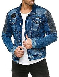 Red Bridge Herren Jeansjacke Biker Style Jeans Jacket Blue Denim Jacke Blau M6058