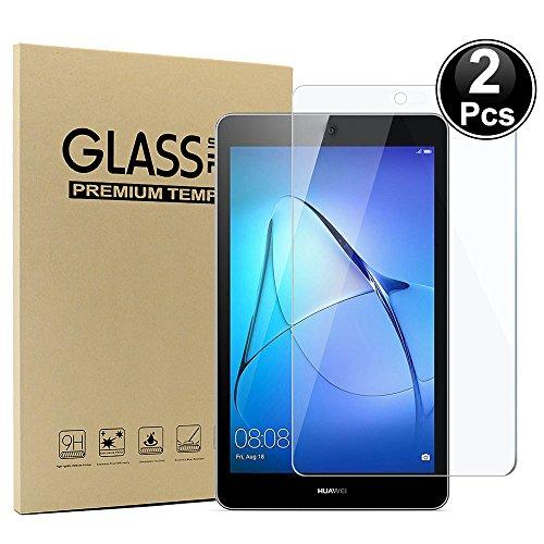 """vetro temperato tablet 7 pollici Ash-case [2 Pack] - Pellicola schermo in vetro temperato copertura completa - [3D Round Edge] [durezza 9H] [Crystal Clear] [resistere ai graffi] per Huawei MediaPad T3 7.0"""" Inch pollici"""