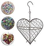 FGASAD Maceta Colgante de Flores, Cesta de Metal en Forma de corazón, Marco de Maceta de Flores para Plantas, decoración del hogar y jardín