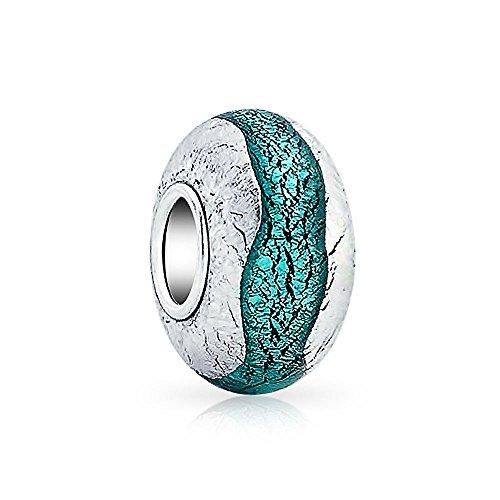 Bling Jewelry Plata De Ley Teal Lámina De Cristal De Murano Abalorio