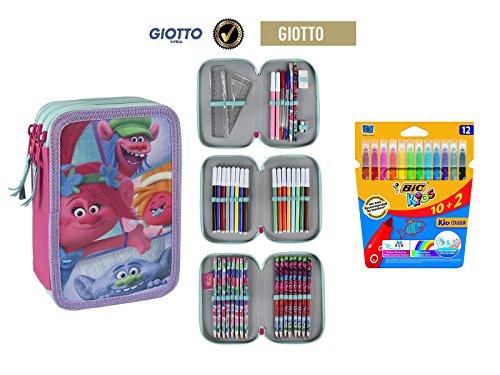 Plumier estuche cremallera triple 3 pisos Trolls Amigos 43 piezas contenido Giotto + REGALO 12 Rotuladores BIC Kids